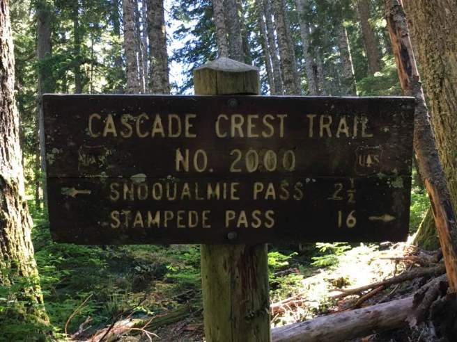PCT to Stampede Pass sign