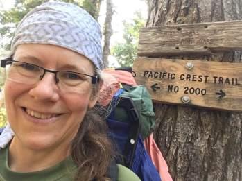 PCT hike - mirror lake sign wearing icecot
